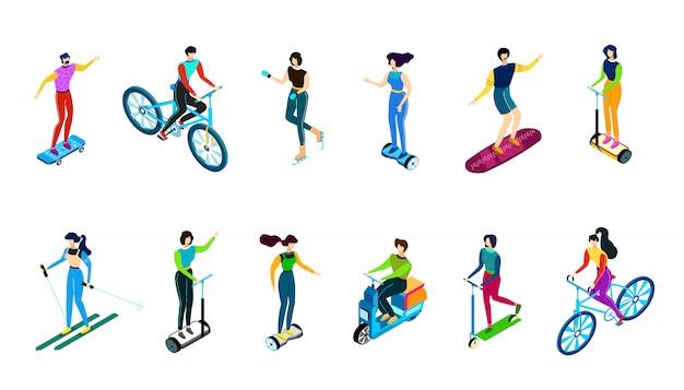Isometrische mensen die fiets, autoped, voertuigen, illustratie, vlakke karakters berijden die op witte ski worden geïsoleerd, skate, berijden skateboard en gyroscooter. Premium Vector