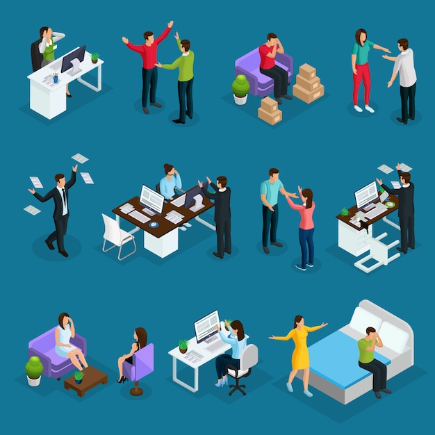 Isometrische mensen en stress ingesteld met verschillende stressvolle situaties op het werk in familie en psycholoog die geïsoleerd bezoeken Gratis Vector
