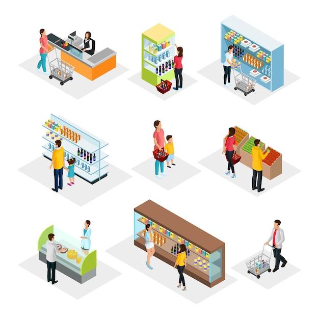 Isometrische mensen in supermarkt set Premium Vector