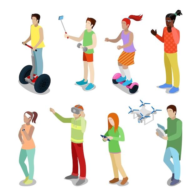 Isometrische mensen met moderne apparaten segway, drone, gyroscooter en virtual reality-bril. vector 3d platte illustratie Premium Vector