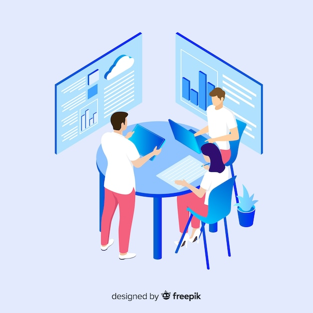 Isometrische mensen team eigentijds management concept Gratis Vector