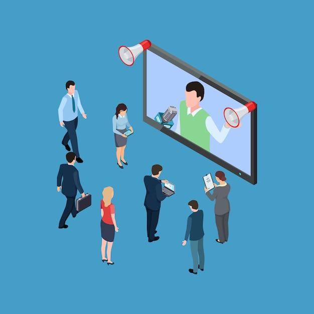 Isometrische mensen uit het bedrijfsleven met megafoons en tv-show isometrische vectorillustratie Premium Vector