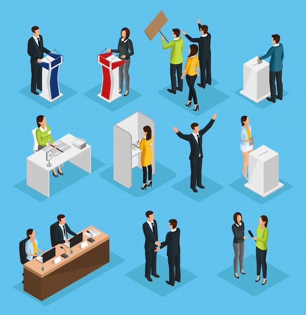 Isometrische mensen verkiezingsset Premium Vector