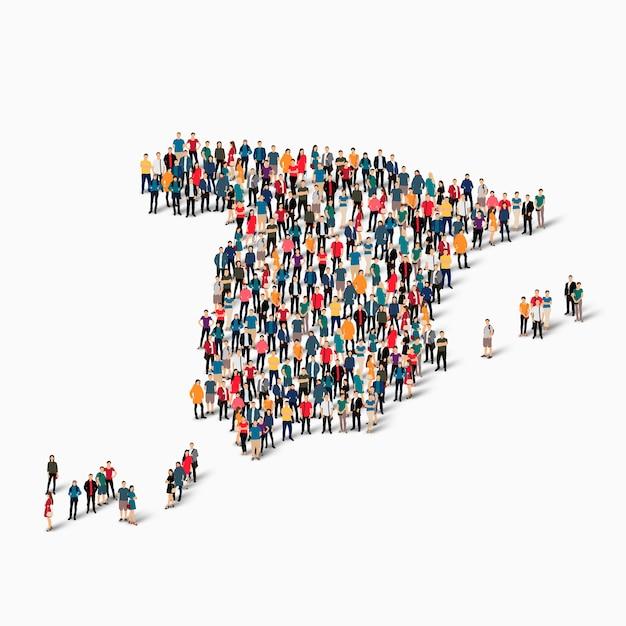 Isometrische mensen vormen kaart van spanje Premium Vector