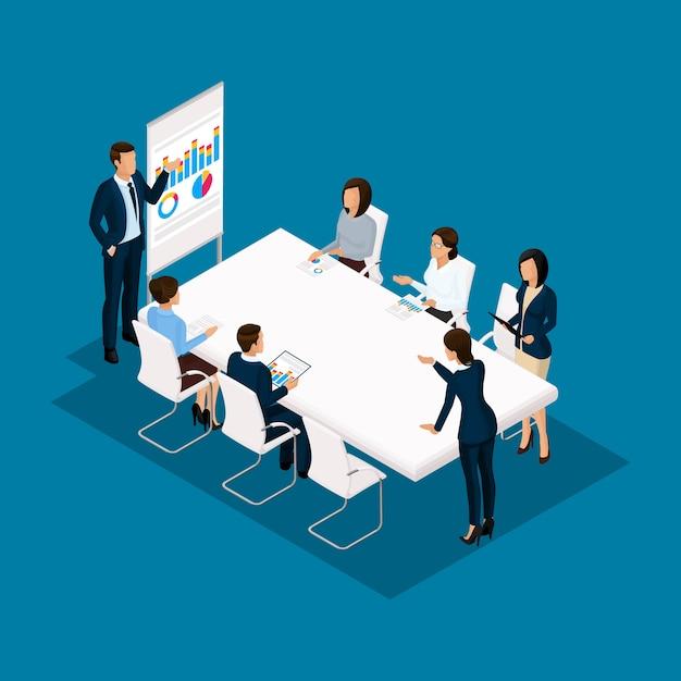 Isometrische mensen, zakenlieden 3d zakenvrouw. discussie, onderhandeling conceptwerk, brainstormen. werkend op kantoor, kantoormedewerkers op een blauwe achtergrond Premium Vector
