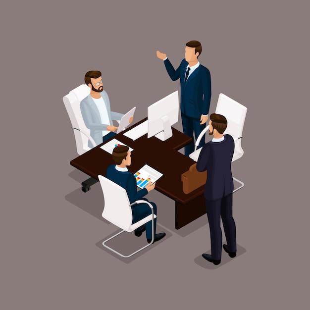 Isometrische mensen, zakenlieden 3d zakenvrouw. kantoorpersoneel om het werkplan te bespreken, het hoofd van de ondergeschikten op een donkere achtergrond Premium Vector