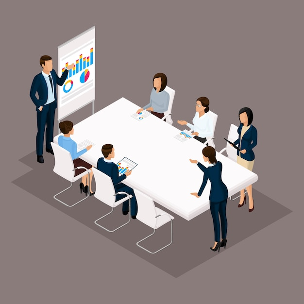 Isometrische mensen, zakenlieden 3d zakenvrouw. onderwijs, bedrijfstraining, zakelijke discussie stategii. beambten op een donkere achtergrond Premium Vector