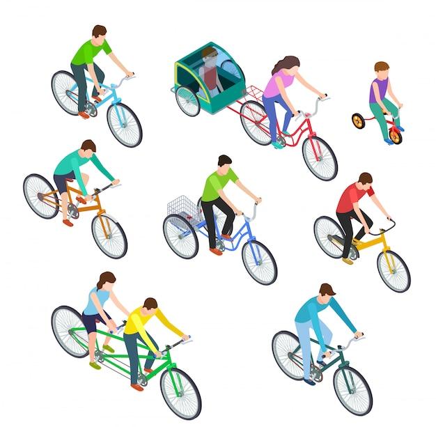 Isometrische mensenfiets. man vrouwen berijdende fietsen openlucht, fietsers. actief fietsen met het gezin. fietser fietsset Premium Vector