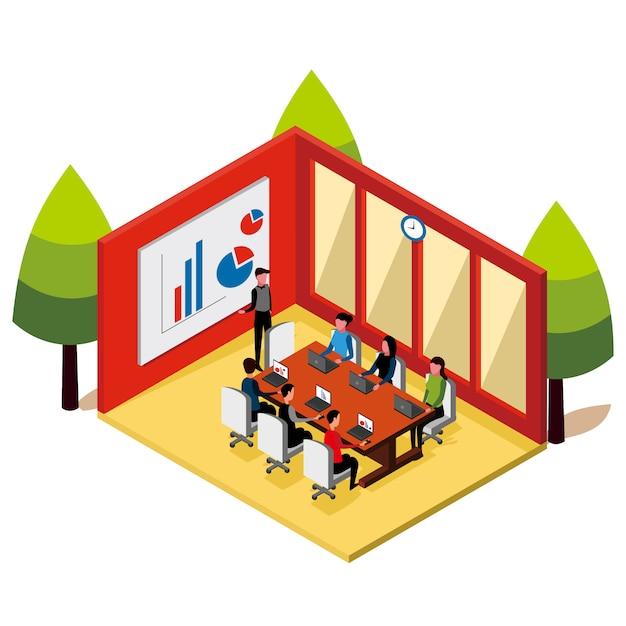Isometrische mensenvergaderingen in de kamer Premium Vector
