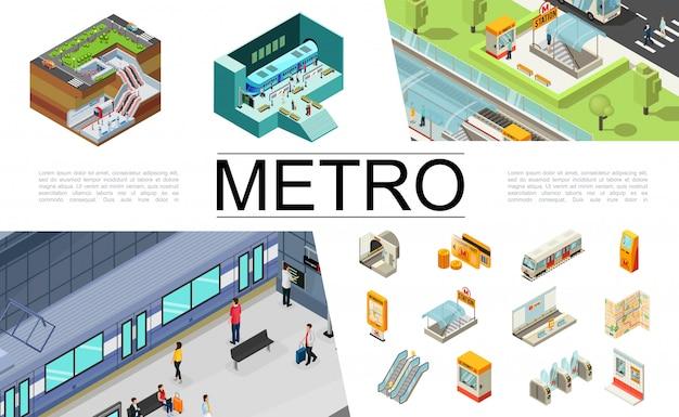 Isometrische metro elementen collectie met treinkaartjes reiskaart atm navigatiekaart ondergrondse ingang roltrap tourniquets passagiers veiligheidscabine metrostation Gratis Vector