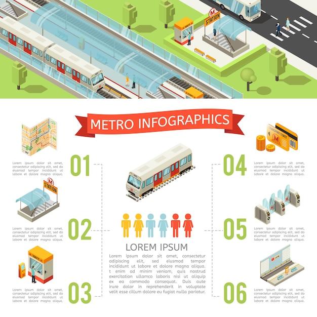 Isometrische metro infographic concept Gratis Vector