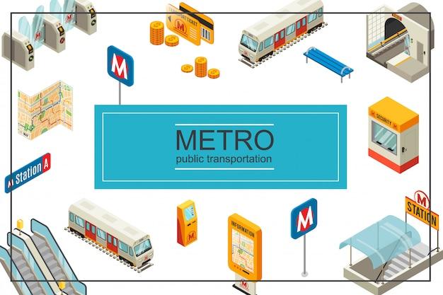 Isometrische metro vectorillustratie met trein metrostation tourniquets munten reiskaarten treinbank beveiliging stand informatiebord kaart atm-roltrap Gratis Vector