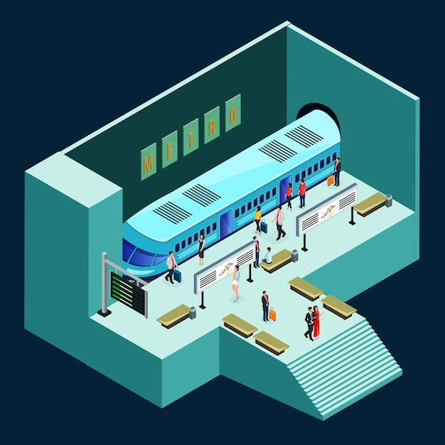 Isometrische metrostation concept Premium Vector