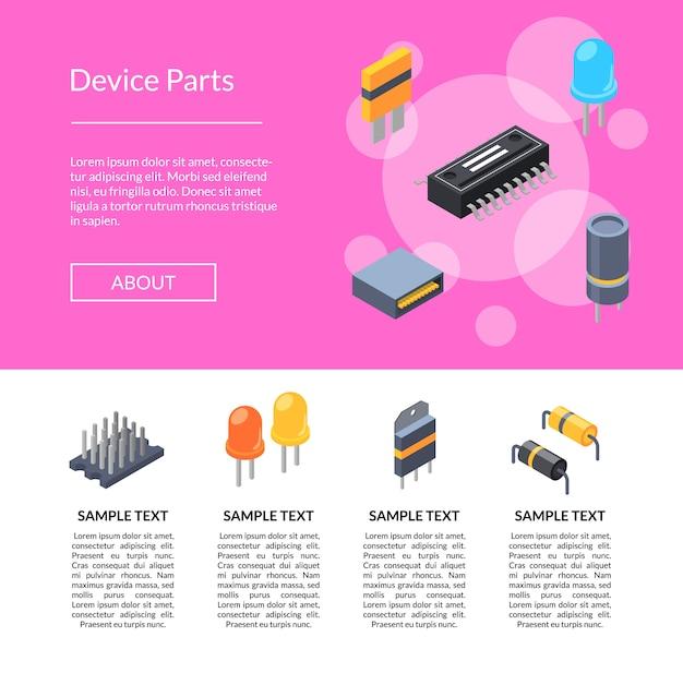 Isometrische microchips en elektronische onderdelenpictogrammen Premium Vector