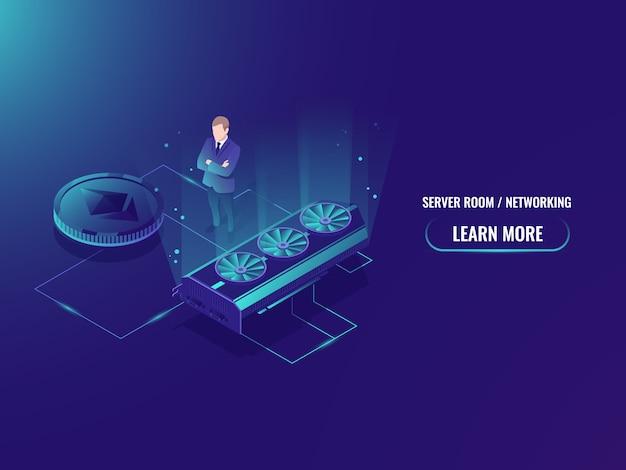 Isometrische mijnbouw boerderij server, extract crypto valuta mijnwerker, serverruimte Gratis Vector