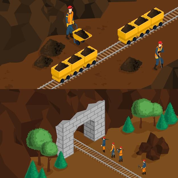 Isometrische mijnwerkers horizontale banners Gratis Vector