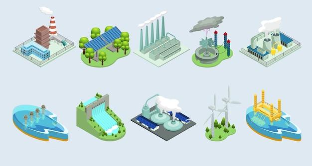 Isometrische milieu-eco-planten met fabrieken Gratis Vector