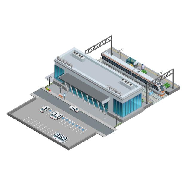 Isometrische miniatuur van het treinstation Gratis Vector