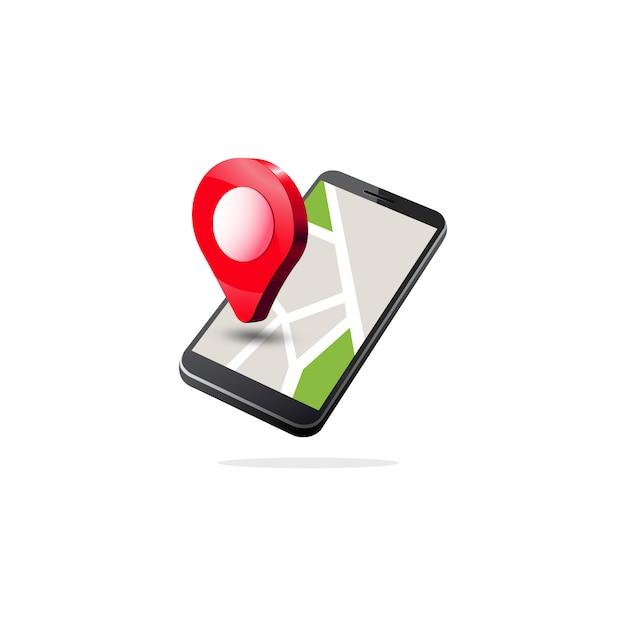 Isometrische mobiele gps-navigatie Premium Vector