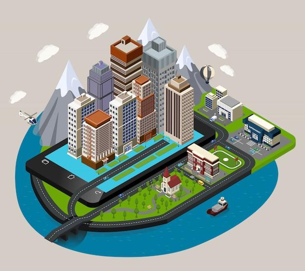 Isometrische mobiele stad concept Gratis Vector
