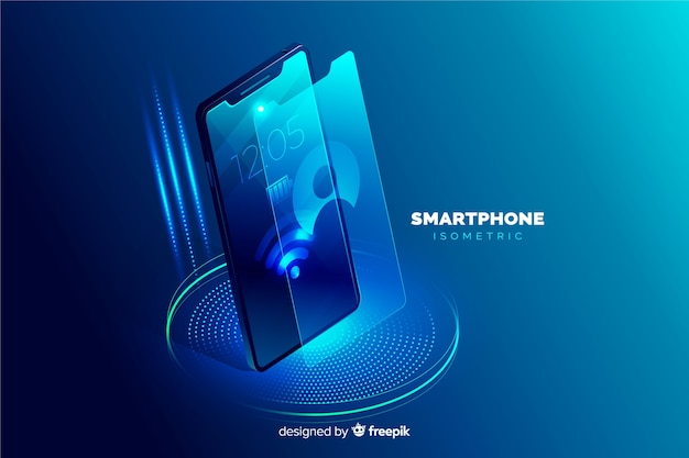Isometrische mobiele telefoon achtergrond sjabloon Gratis Vector