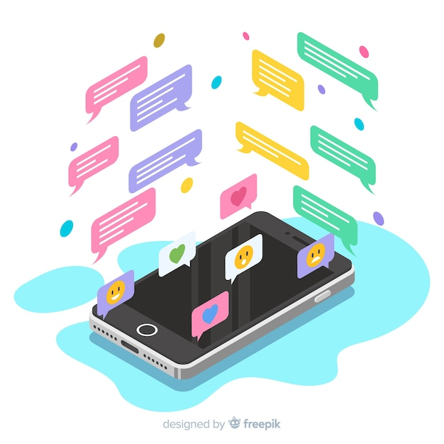 Isometrische mobiele telefoon met chat-concept Gratis Vector