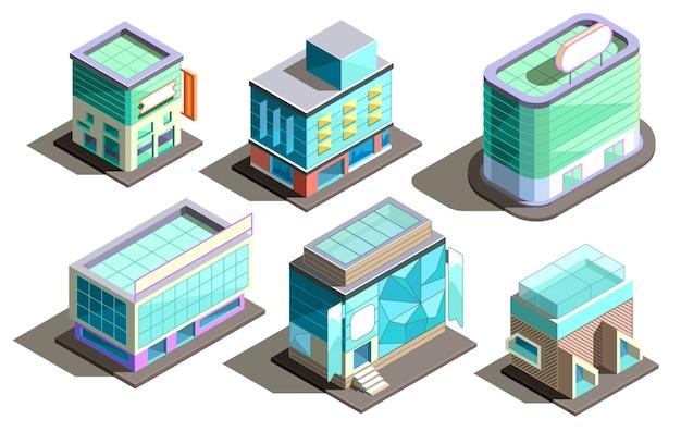 Isometrische moderne gebouwen, cartoon wolkenkrabbers Gratis Vector