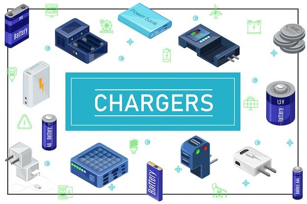 Isometrische moderne samenstelling van laadbronnen met stekkers laders batterijen van verschillende capaciteit in frame Gratis Vector
