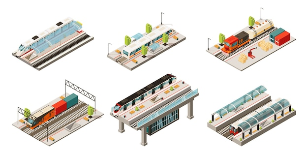 Isometrische moderne spoorwegvervoercollectie met geïsoleerde locomotiefvracht- en passagierstreinen Gratis Vector
