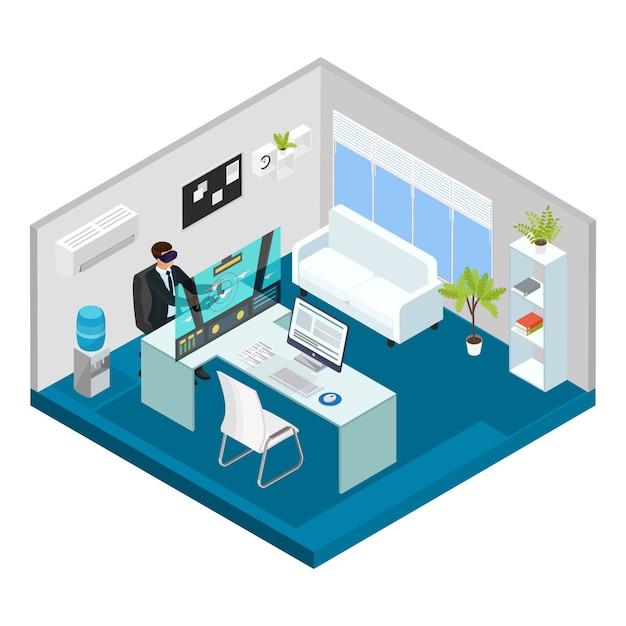 Isometrische moderne technologie concept met man gamen met virtual reality headset in kantoor geïsoleerd Gratis Vector