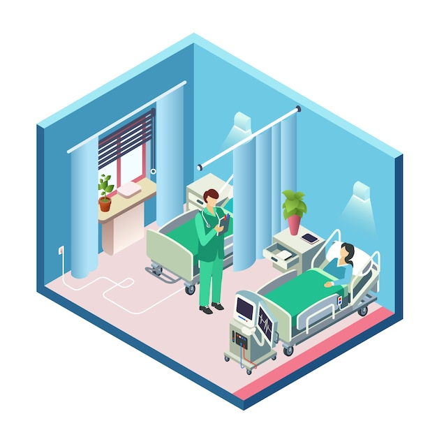 Isometrische moderne ziekenhuisruimte, afdelingsectie met vrouwelijke patiënt in bed Gratis Vector