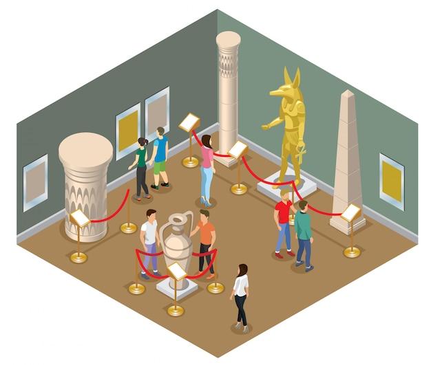 Isometrische museumzaal concept met bezoekers bekijken farao standbeeld foto's oude amfora kolom en historische gebouwen geïsoleerd Gratis Vector