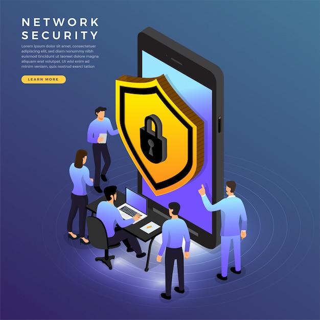 Isometrische netwerkbeveiliging Premium Vector