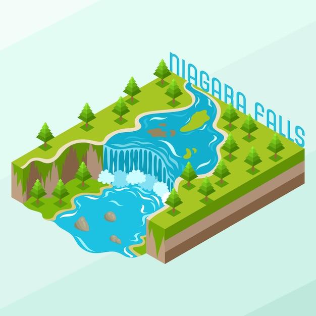 Isometrische niagara-watervallen Premium Vector