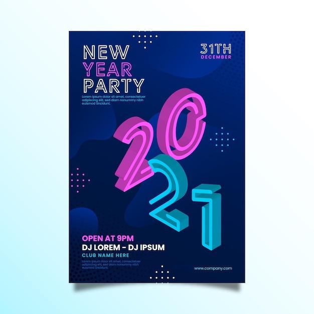 Isometrische nieuwjaar 2021 partij flyer-sjabloon Gratis Vector