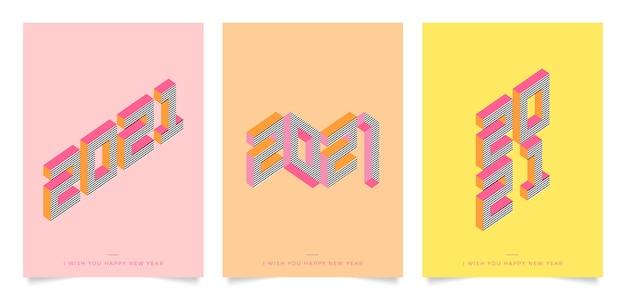 Isometrische nieuwjaar 2021 partij poster sjabloon Gratis Vector