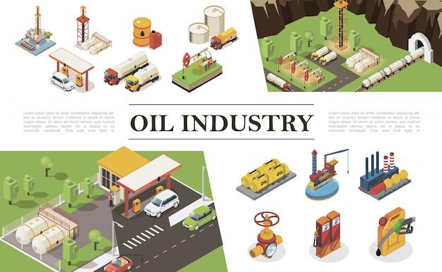 Isometrische olie-industrie elementen samenstelling met fabrieks benzinestation pijpleiding en klep boortorens booreilanden waterplatform containers vaten stortbakken van aardolie Gratis Vector