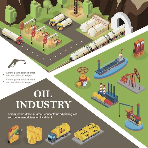 Isometrische olie-industrie samenstelling met tanker booreilanden raffinaderij fabriek pijpleiding klep vrachtwagens bussen stortbakken vaten benzine brandstof mondstuk Gratis Vector