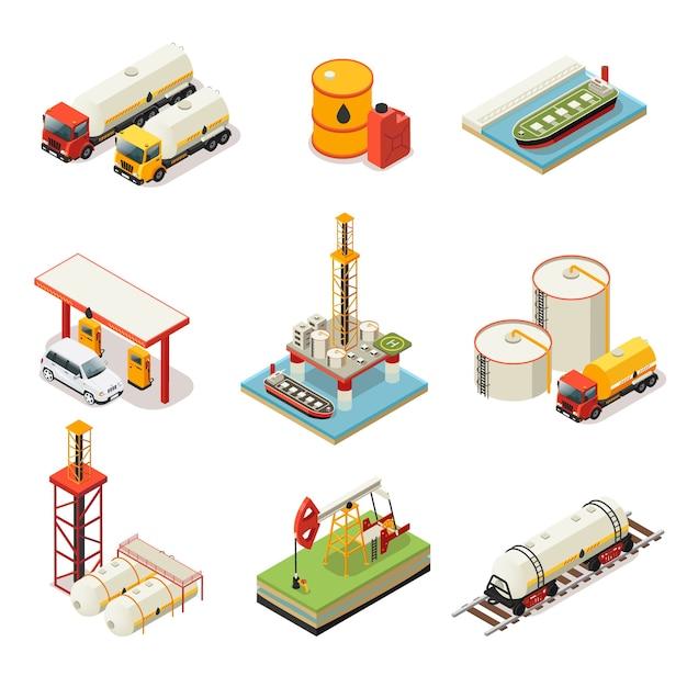 Isometrische olie-industrie set Premium Vector