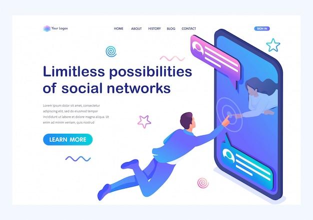 Isometrische onbeperkte mogelijkheden van sociale netwerken, een jong meisje communiceert met een jonge man via internet. online dating. Premium Vector