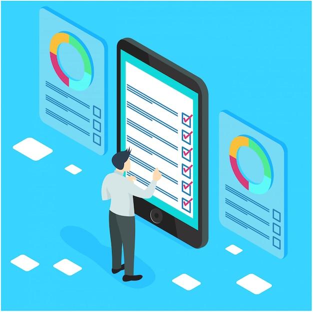 Isometrische ondernemers met checklists en takenlijsten. Premium Vector