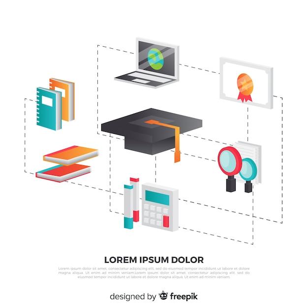 Isometrische onderwijs concept achtergrond Gratis Vector