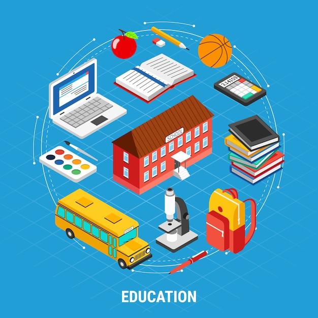Isometrische onderwijs elementenset Gratis Vector