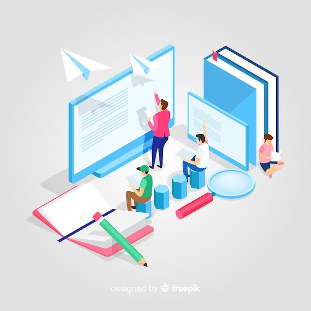 Isometrische onderwijs illustratie Gratis Vector