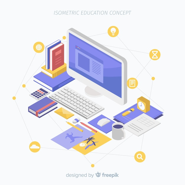 Isometrische onderwijsachtergrond Gratis Vector