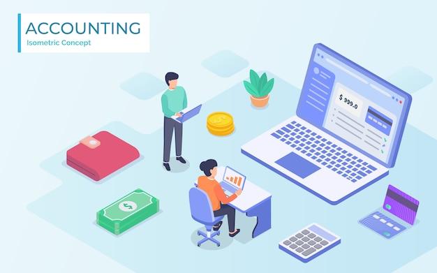 Isometrische online accountant concept. vrouw accountant bereidt een belastingrapport voor en berekent betalingscontrole op basis van gegevens. illustratie Premium Vector