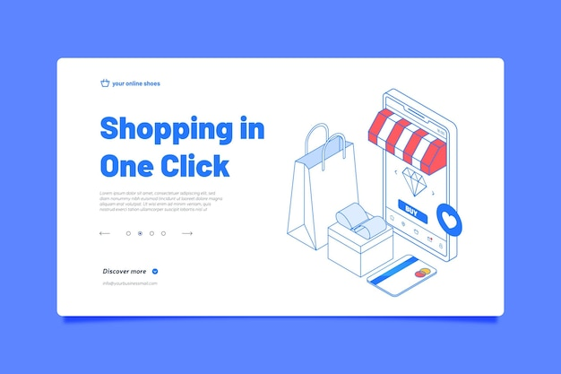 Isometrische online bestemmingspagina winkelen Gratis Vector