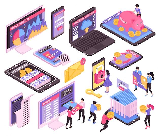 Isometrische online mobiel bankieren set van geïsoleerde afbeeldingen met schermen van elektronische apparaten en financiële infographic pictogrammen Gratis Vector