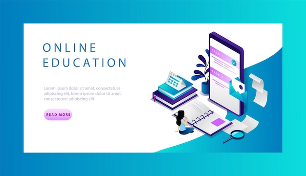 Isometrische online onderwijs website bestemmingspagina concept. Premium Vector