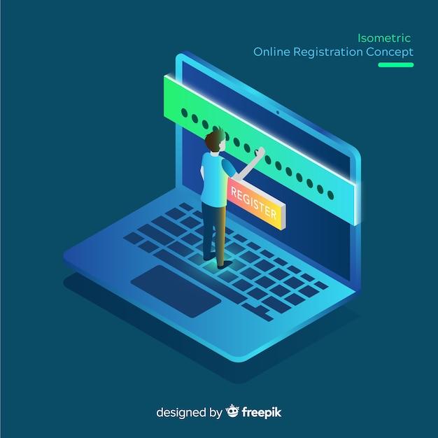 Isometrische online registratie concept Gratis Vector